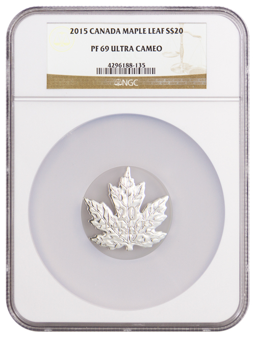 2015 Canada $20 1 oz. Proof Silver Maple Leaf-Shaped Coin - NGC PF69 UC