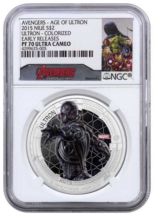 2015 Niue $2 1 oz. Colorized Proof Silver Marvel Avengers - Age of Ultron - Ultron - NGC PF70 UC Early Releases (Exclusive Avengers Label)