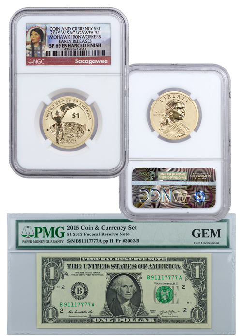2015-W $1 Coin and Currency Set: Sacagawea Mohawk IronWorkers - NGC SP69 Early Releases with GEM Uncirculated Banknote