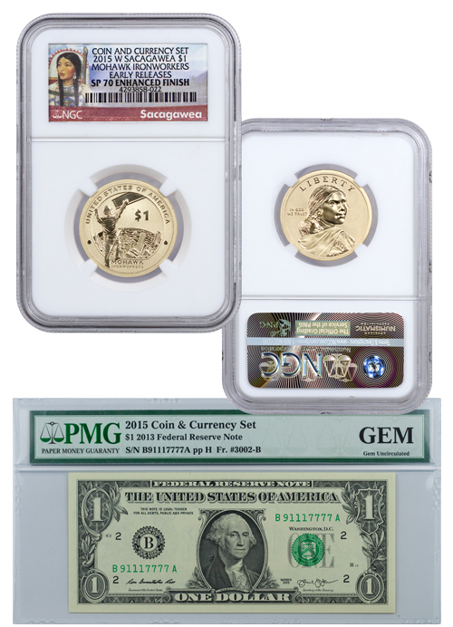 2015-W $1 Coin and Currency Set: Sacagawea Mohawk IronWorkers - NGC SP70 Early Releases with GEM Uncirculated Banknote