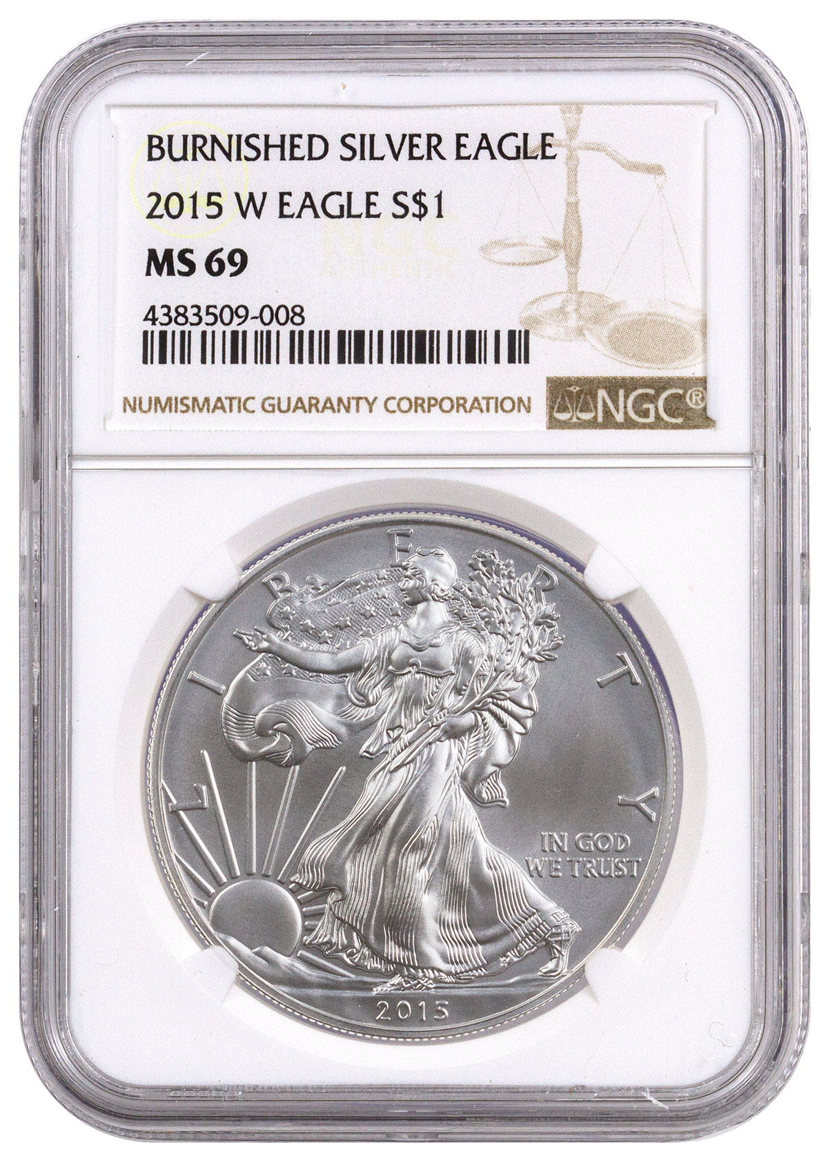 2015-W Burnished Silver Eagle NGC MS69