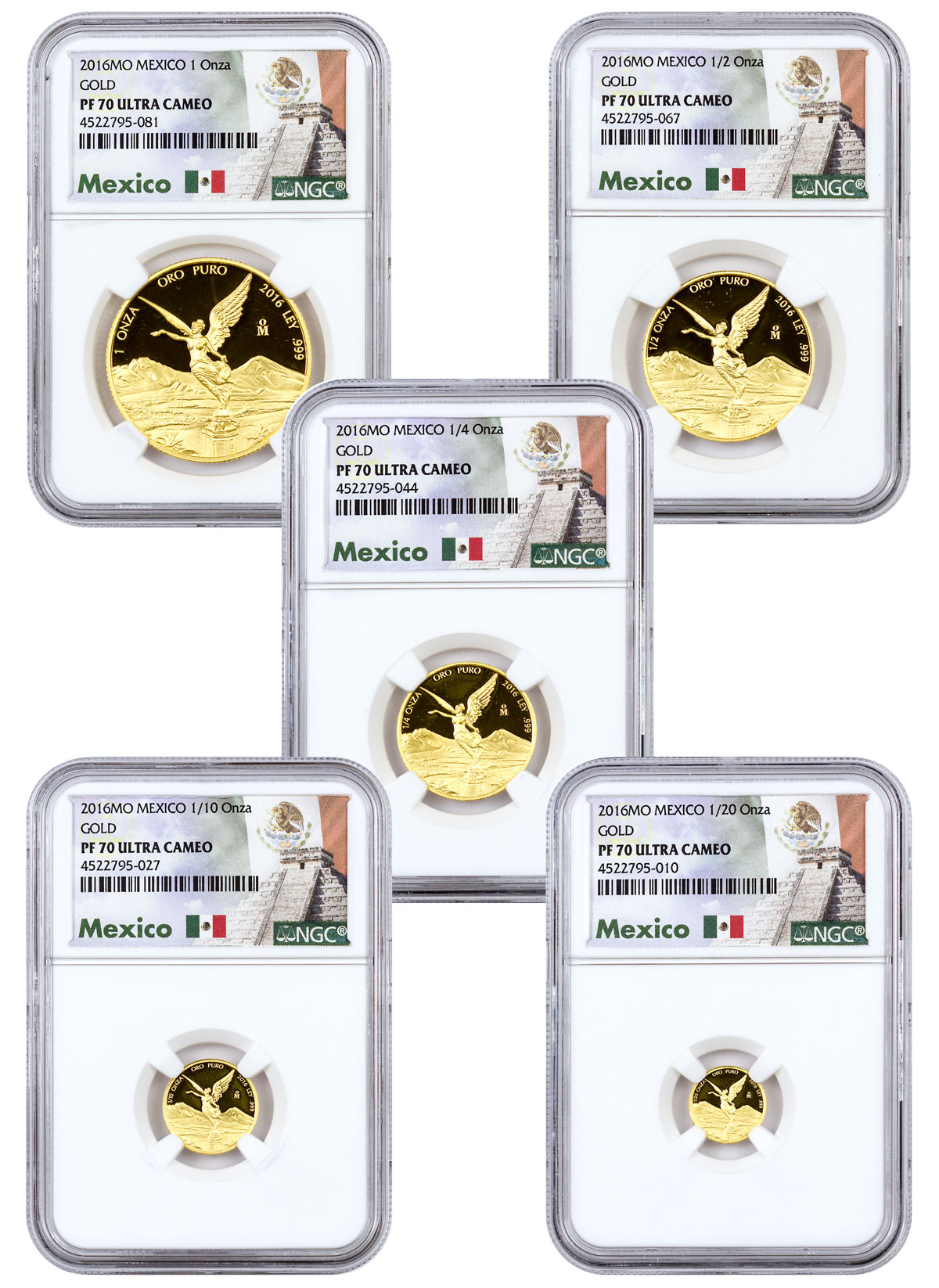 2016 Mexico Gold Libertad 5-Coin Proof Set NGC PF70 UC (Exclusive Mexico Label)