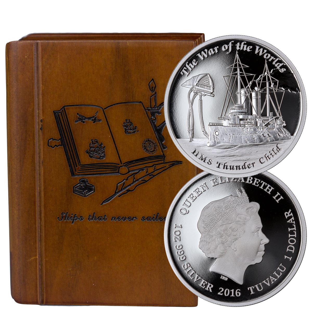 2016 Tuvalu $1 1 oz. Proof Silver Famous Ships That Never Sailed - HMS Thunder Child from The War of the Worlds - GEM Proof (Original Mint Packaging)