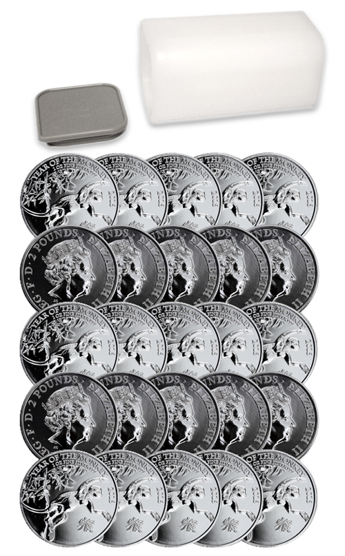 2016 Great Britain 2 Pound 1 oz. Silver Year of the Monkey -  Roll of 25 Coins - GEM BU