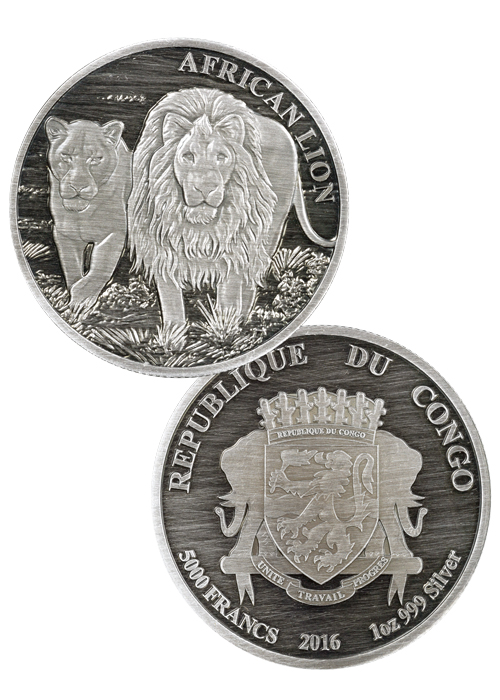 2016 Congo 5000 Francs 1 oz. Antique Proof Silver African Lion - GEM Proof