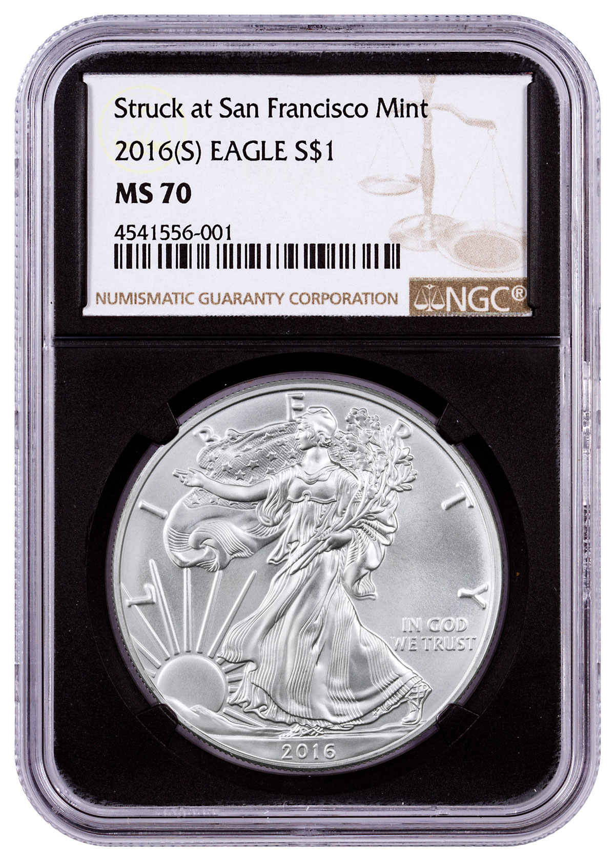 2016-(S) Silver Eagle Struck at San Francisco NGC MS70 (Black Core)