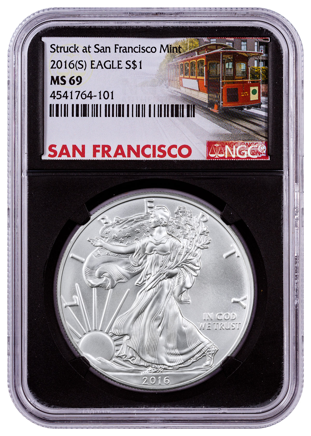 2016-(S) Silver Eagle Struck at San Francisco NGC MS69 (Black Core - Trolley Label)