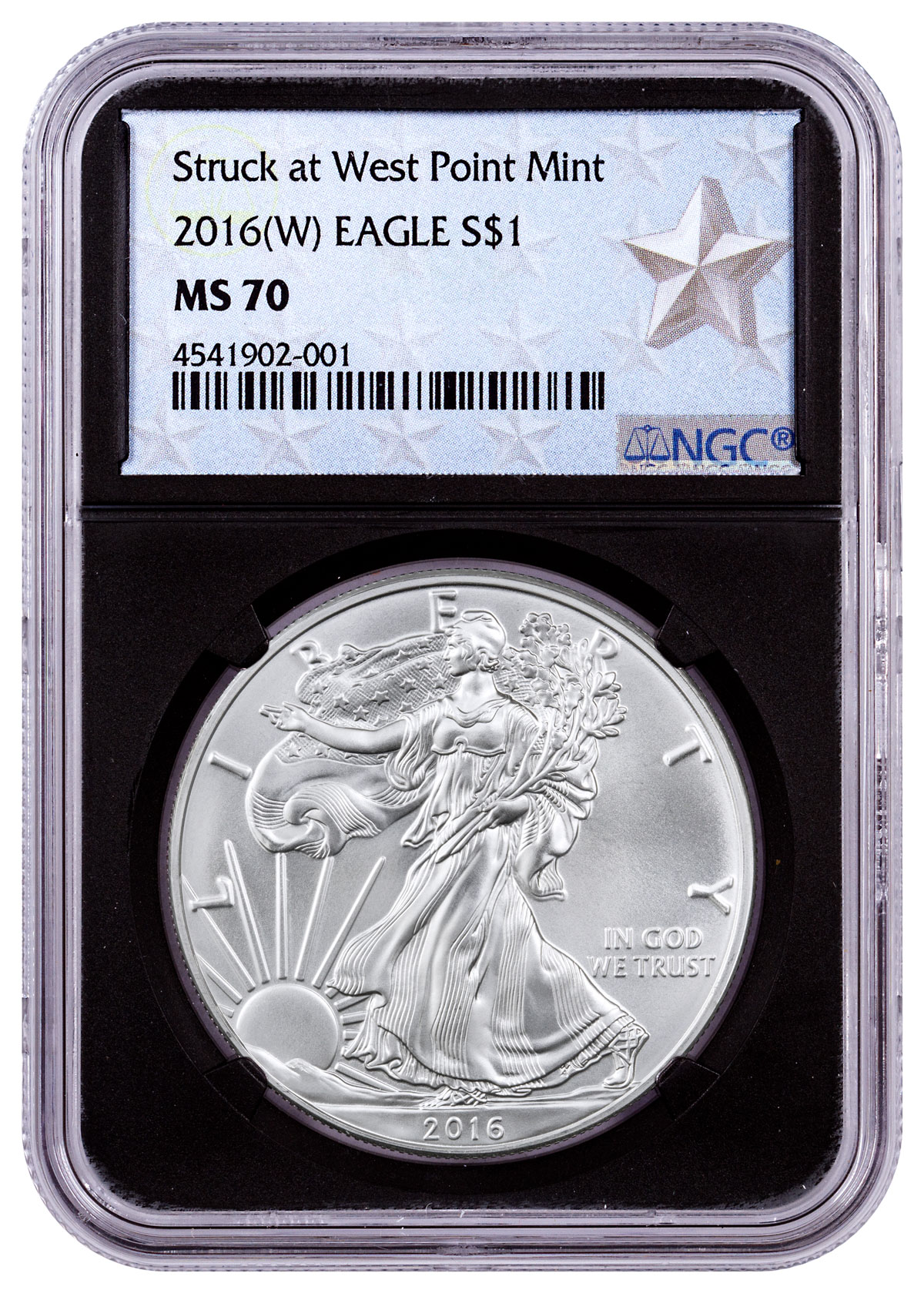 2016-(W) Silver Eagle Struck at West Point NGC MS70 (Black Core - West Point Silver Star Label)