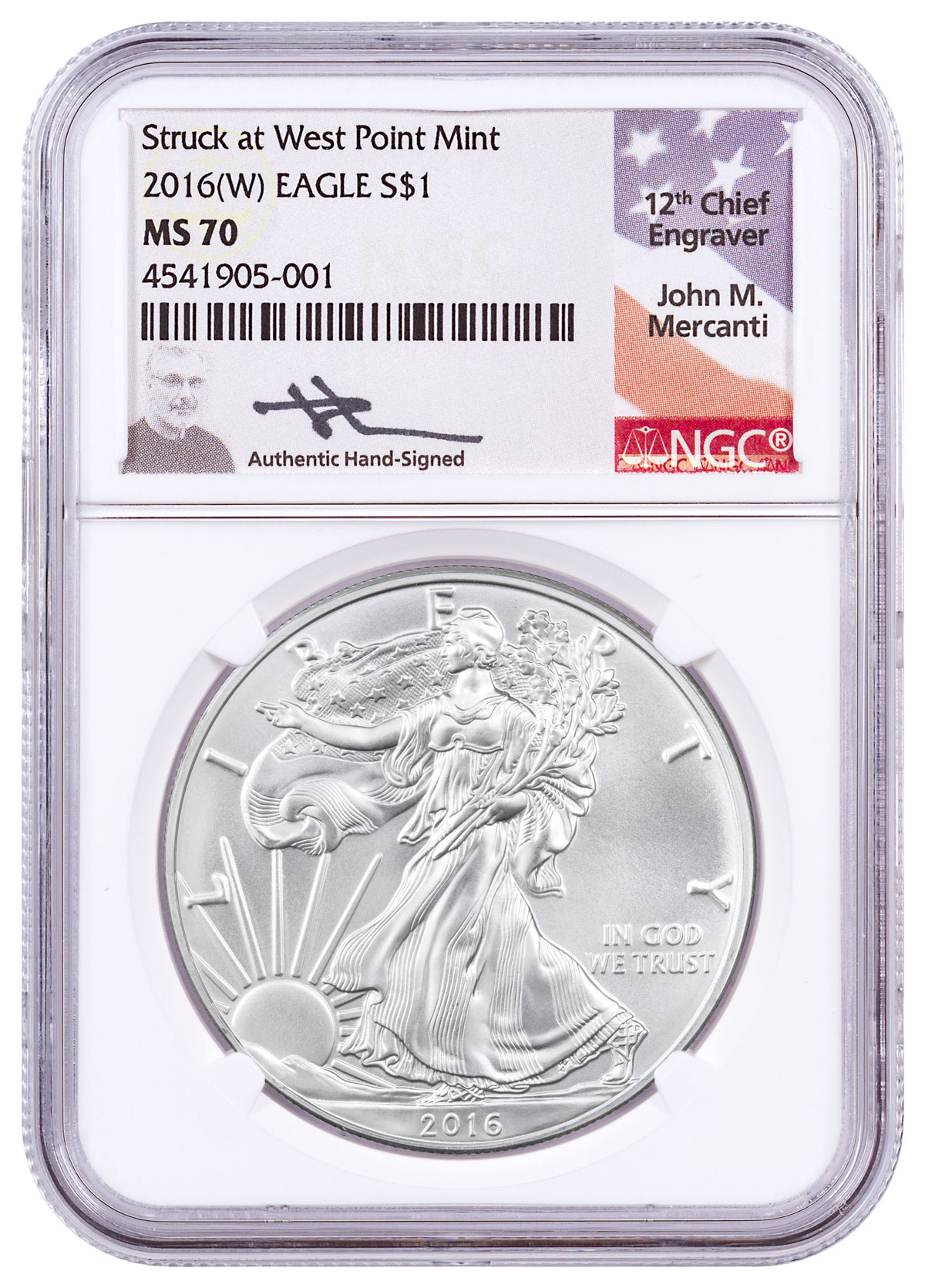 2016 W Silver Eagle Struck At West Point Ngc Ms70