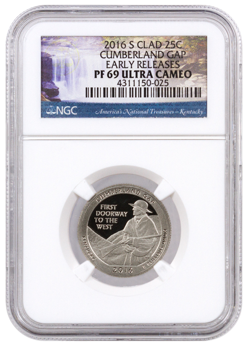 2016-S 25c Proof Clad America the Beautiful Quarter - Cumberland Gap - NGC PF69 UC Early Releases