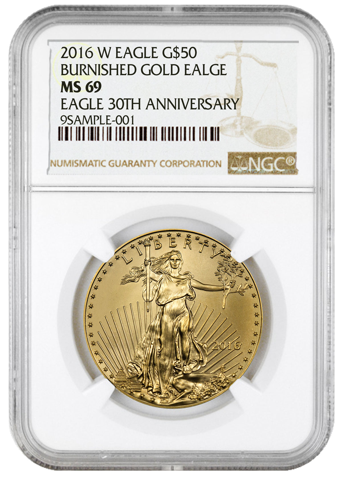 2016 W 1 Oz Burnished Gold American Eagle 50 Ngc Ms69