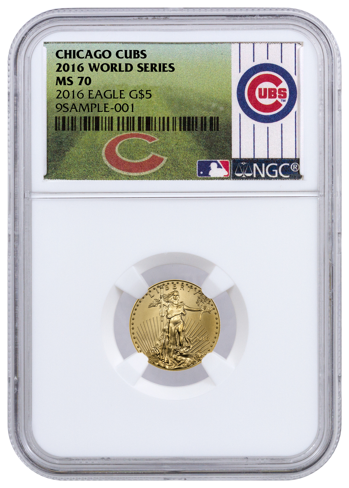 2016 1 10 Oz Gold American Eagle 5 Ngc Ms70 Chicago Cubs