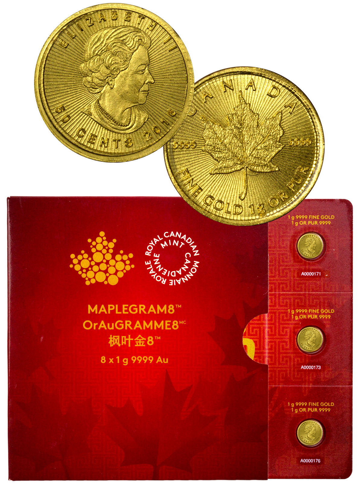 2016 Canada 50c 1g Gold Maplegram8 - Sheet of 8 Coins - GEM BU (Sealed with Cert)