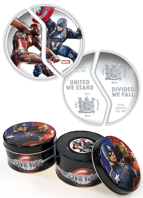 2016 Fiji $1 1 oz. Proof Silver Marvel Captain America: Civil War - Capt. America and Iron Man - 2 Coin Set - GEM Proof (Original Mint Packaging)