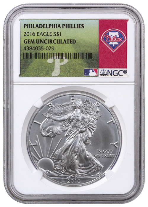 2016 American Silver Eagle - NGC GEM BU (Philadelphia Phillies Label)