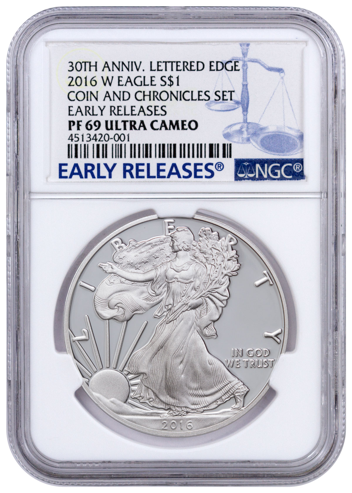 2016-W Proof American Silver Eagle From Ronald Reagan Coin and Chronicles Set NGC PF69 UC ER