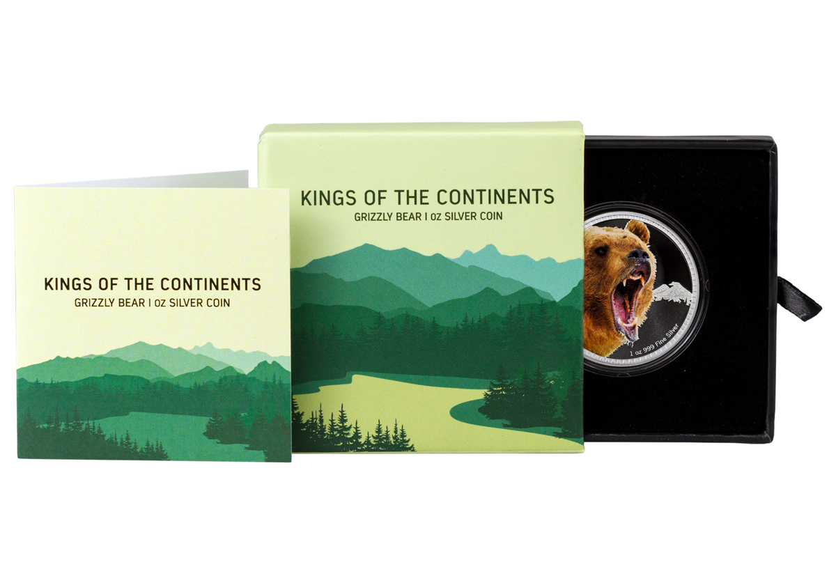 2016 Niue Kings of the Continents - Grizzly Bear 1 oz Silver Colorized Proof $2 GEM Proof