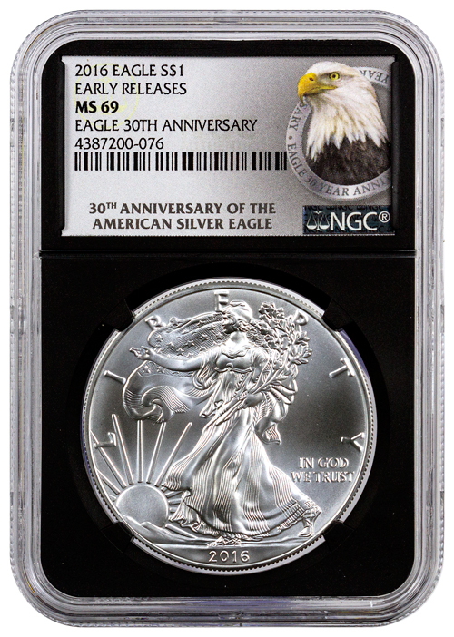 2016 American Silver Eagle Ngc Ms69 Er Black Core Holder