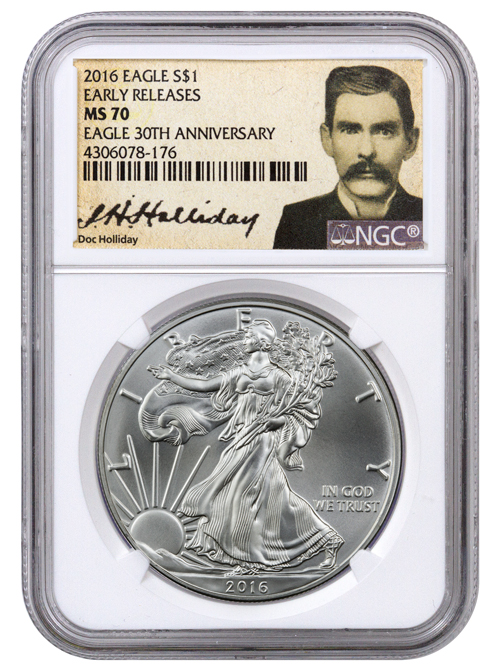 2016 American Silver Eagle Ngc Ms70 Er Doc Holliday Label