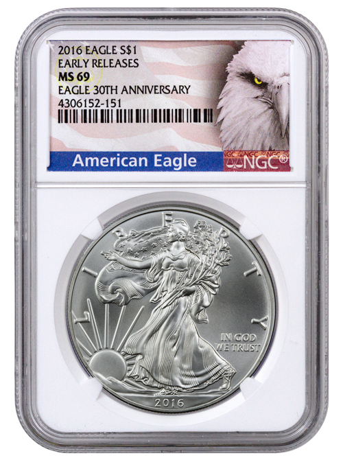 2016 American Silver Eagle - NGC MS69 Early Releases (Exclusive American Eagle Label)