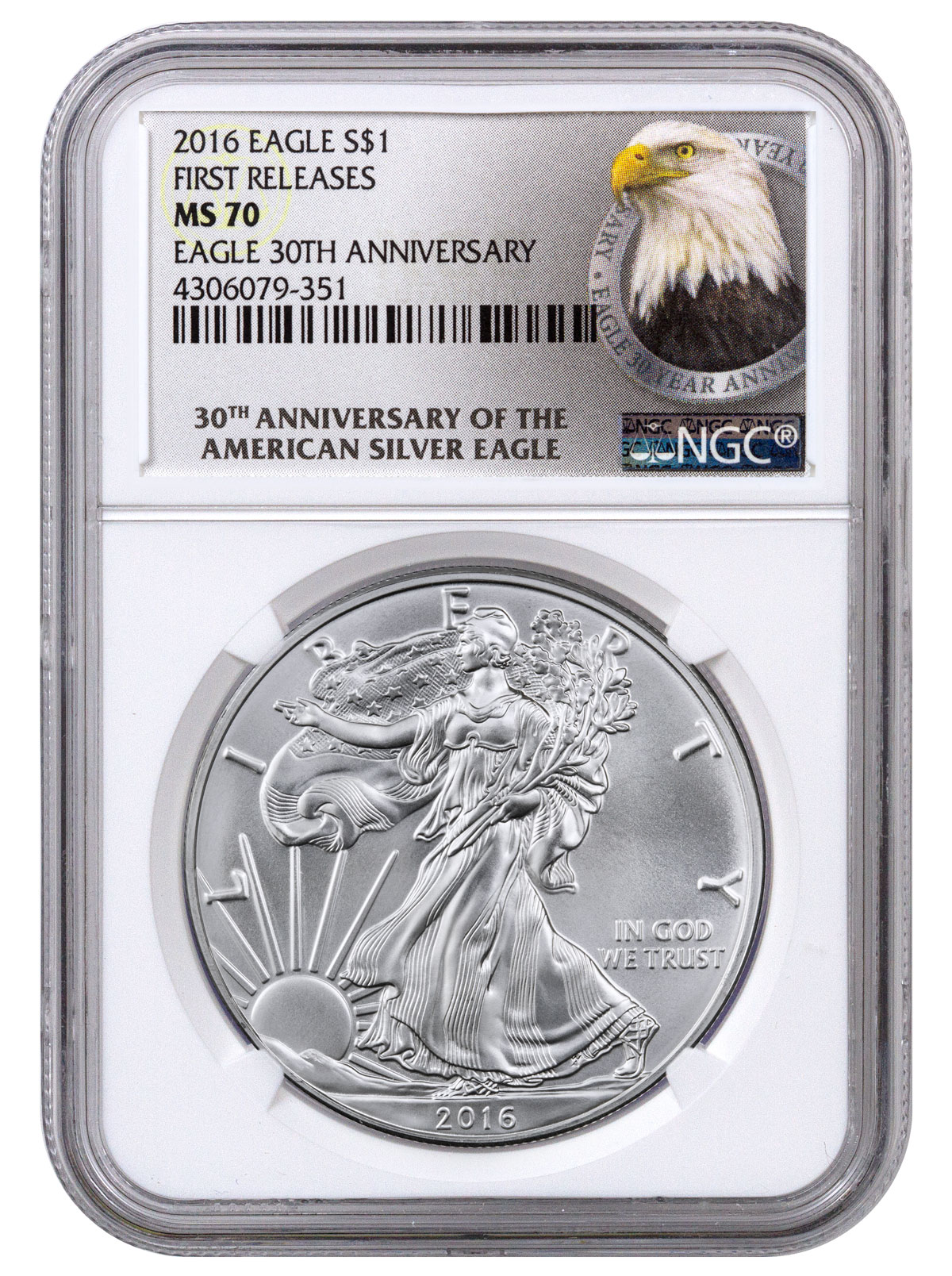 2016 American Silver Eagle Ngc Ms70 Fr 30th Anniversary