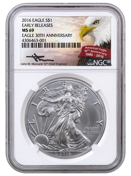 2016 American Silver Eagle NGC MS69 ER (Mercanti Signed American Eagle Label)