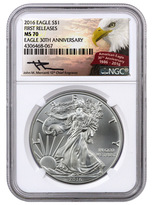 2016 American Silver Eagle NGC MS70 FR (Mercanti Signed Label)
