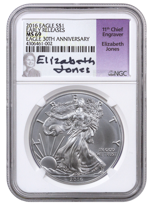 2016 American Silver Eagle NGC MS69 ER (Elizabeth Jones Label)