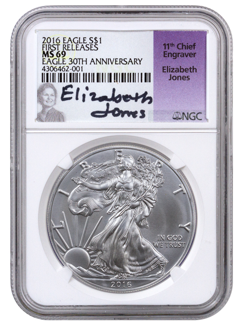 2016 American Silver Eagle NGC MS69 FR (Elizabeth Jones Label)