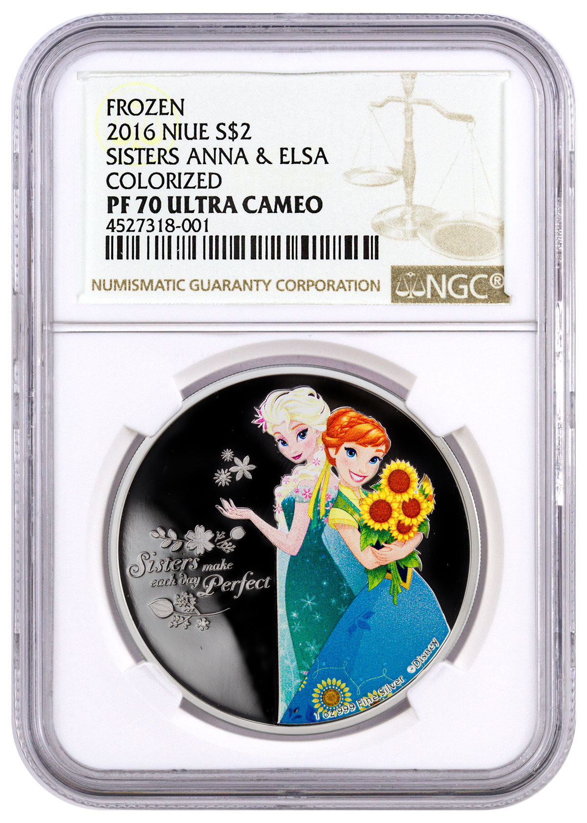 2016 Niue Disney Frozen - Sisters Anna and Elsa 1 oz Silver Colorized Proof $2 NGC PF70 UC