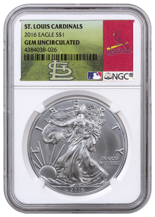 2016 American Silver Eagle - NGC GEM BU (St. Louis Cardinals Label)