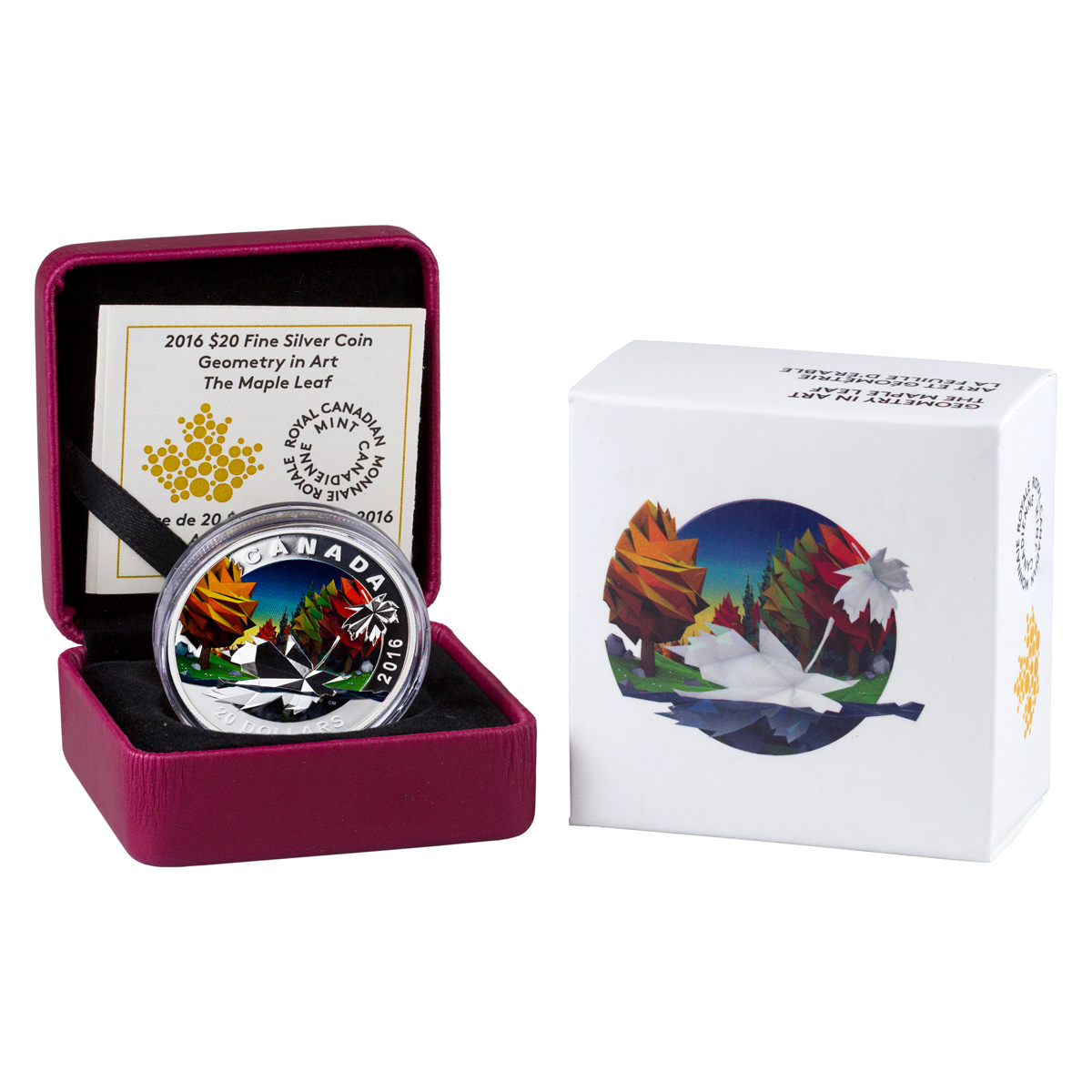 2016 Canada $20 1 oz. Colorized Proof Silver Geometry in Art - Maple Leaf - GEM Proof (Original Mint Packaging)