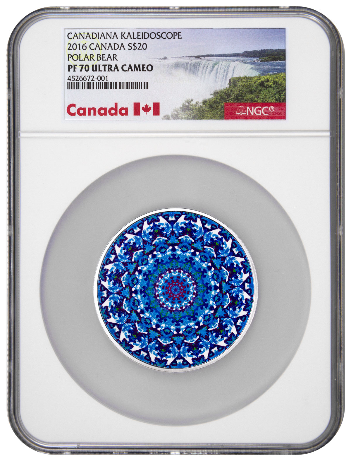 2016 Canada Canadiana Kaleidoscope - Polar Bear 1 oz Silver Colorized Proof $20 Coin NGC PF70 UC (Exclusive Canada Label)