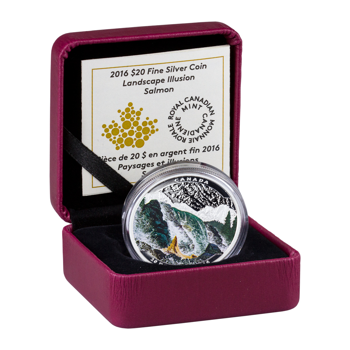 2016 Canada $20 1 oz. Colorized Proof Silver Landscape Illusion - Salmon - GEM Proof (Original Mint Packaging)