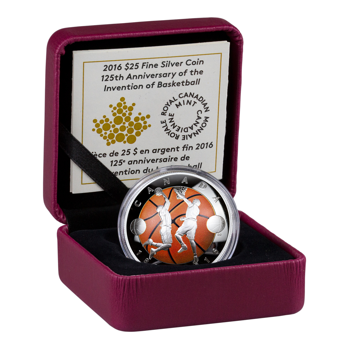 2016 Canada $25 1 oz. Colorized Proof Silver Domed 125th Anniversary of Basketball - GEM Proof (Original Mint Packaging)