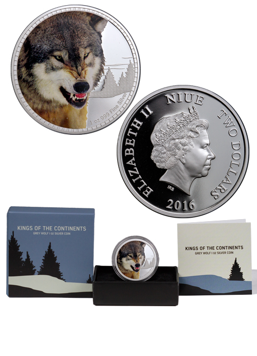 2016 Niue Kings Of The Continents Grey Wolf 1 Oz Silver