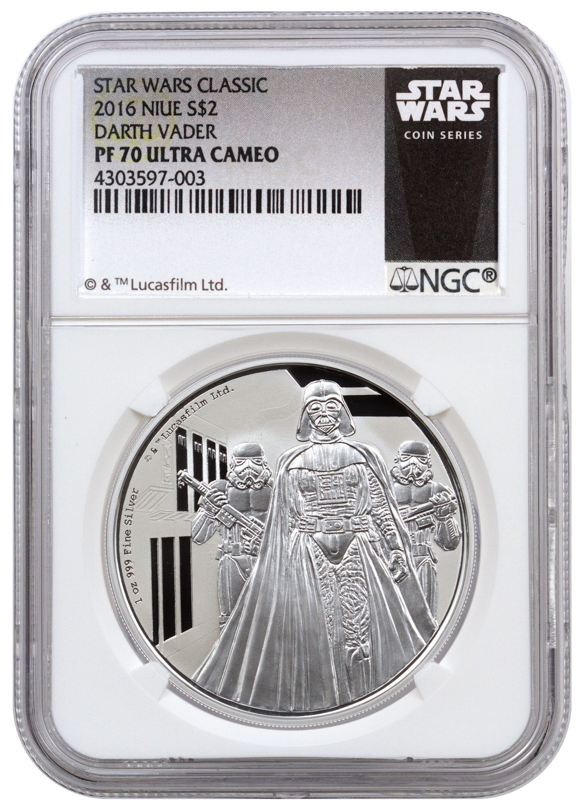 2016 Niue Star Wars Classic - Darth Vader 1 oz Silver Proof $2 NGC PF70 UC (Exclusive Star Wars Label)