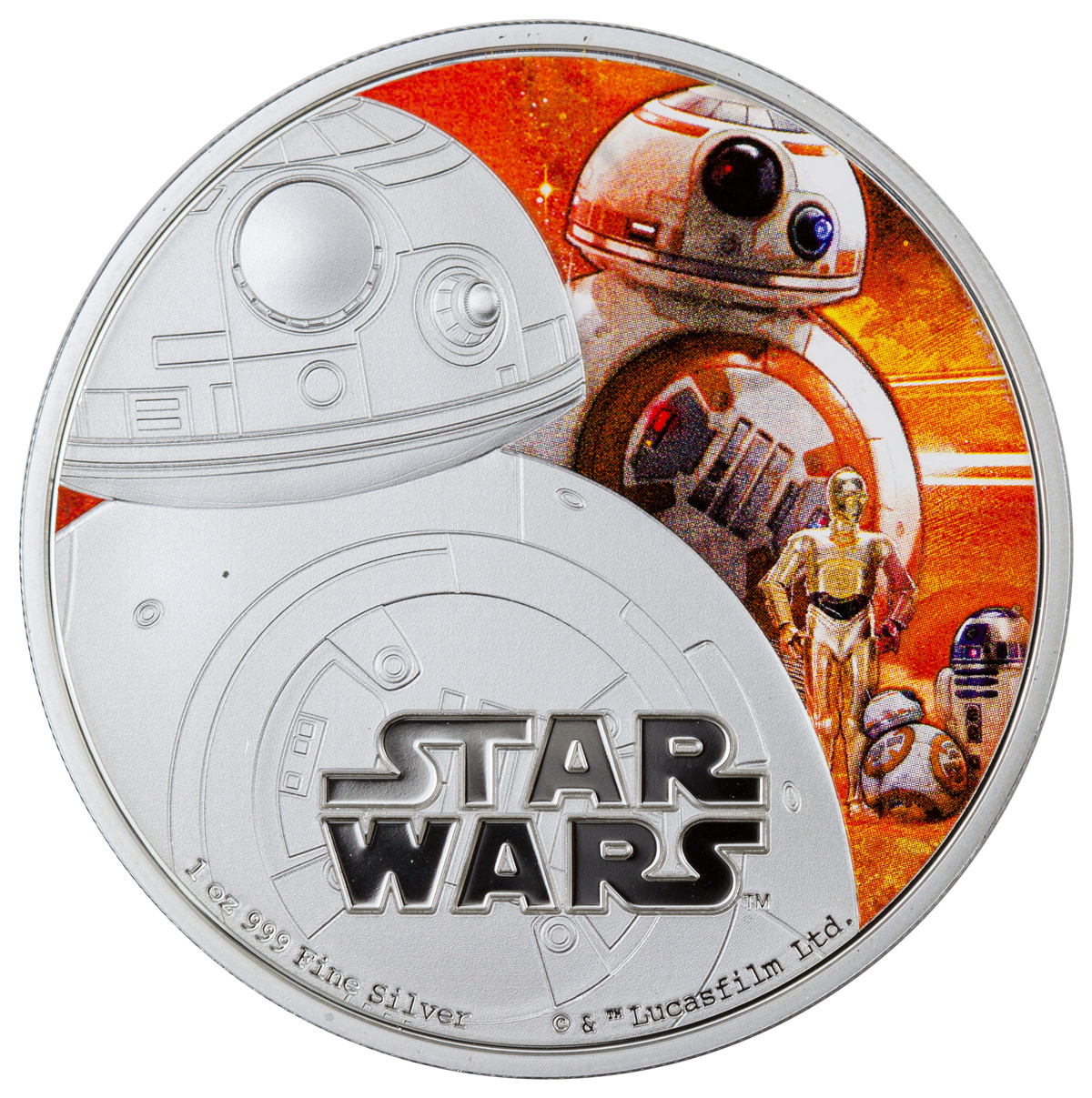 2016 Niue $2 1 oz. Colorized Proof Silver Star Wars: The Force Awakens - BB-8 - GEM Proof (Original Mint Packaging)