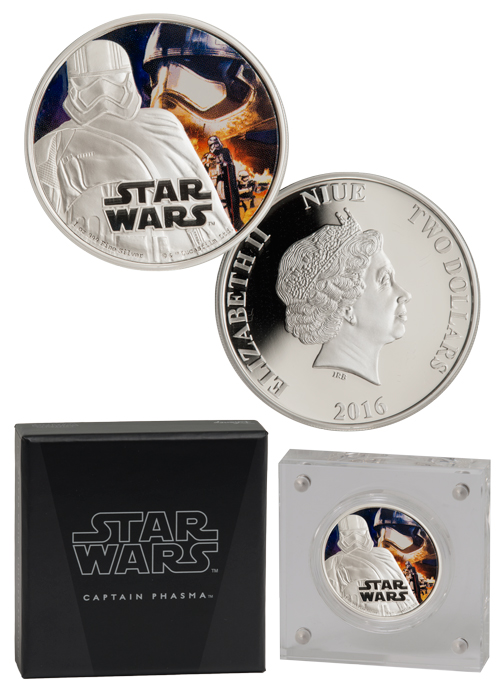2016 Niue Star Wars: The Force Awakens - Captain Phasma 1 oz Silver Colorized Proof $2 GEM Proof OGP