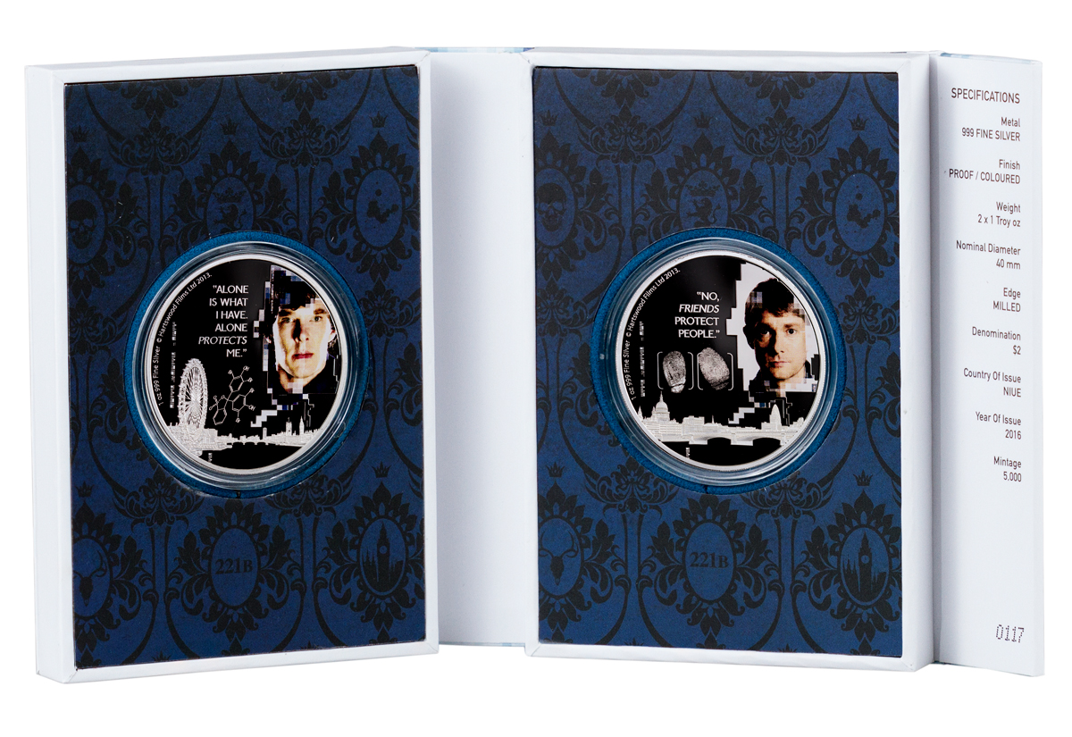 2016 Niue Sherlock - 2-Coin Set 1 oz Silver Colorized Proof $2 Coins GEM Proof (OGP)