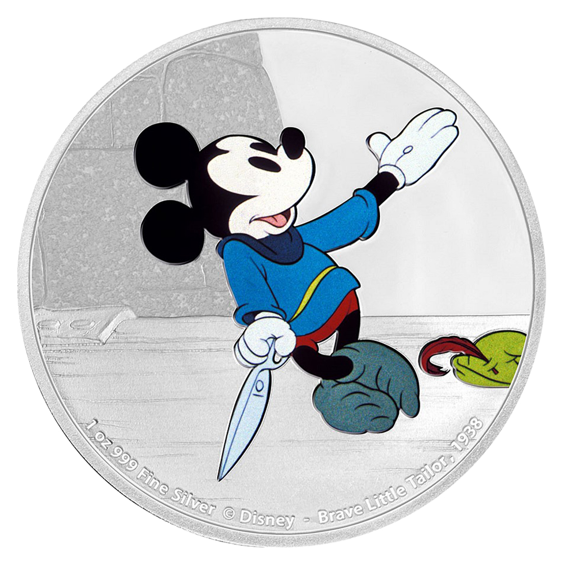 2016 Niue Disney Mickey Through the Ages - Brave Little Tailor 1 oz Silver Colorized Proof $2 GEM Proof OGP