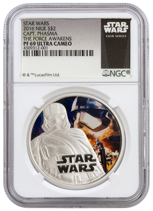 2016 Niue $2 1 oz. Colorized Proof Silver Star Wars: The Force Awakens – Captain Phasma - NGC PF69 UC (Exclusive Star Wars Label)