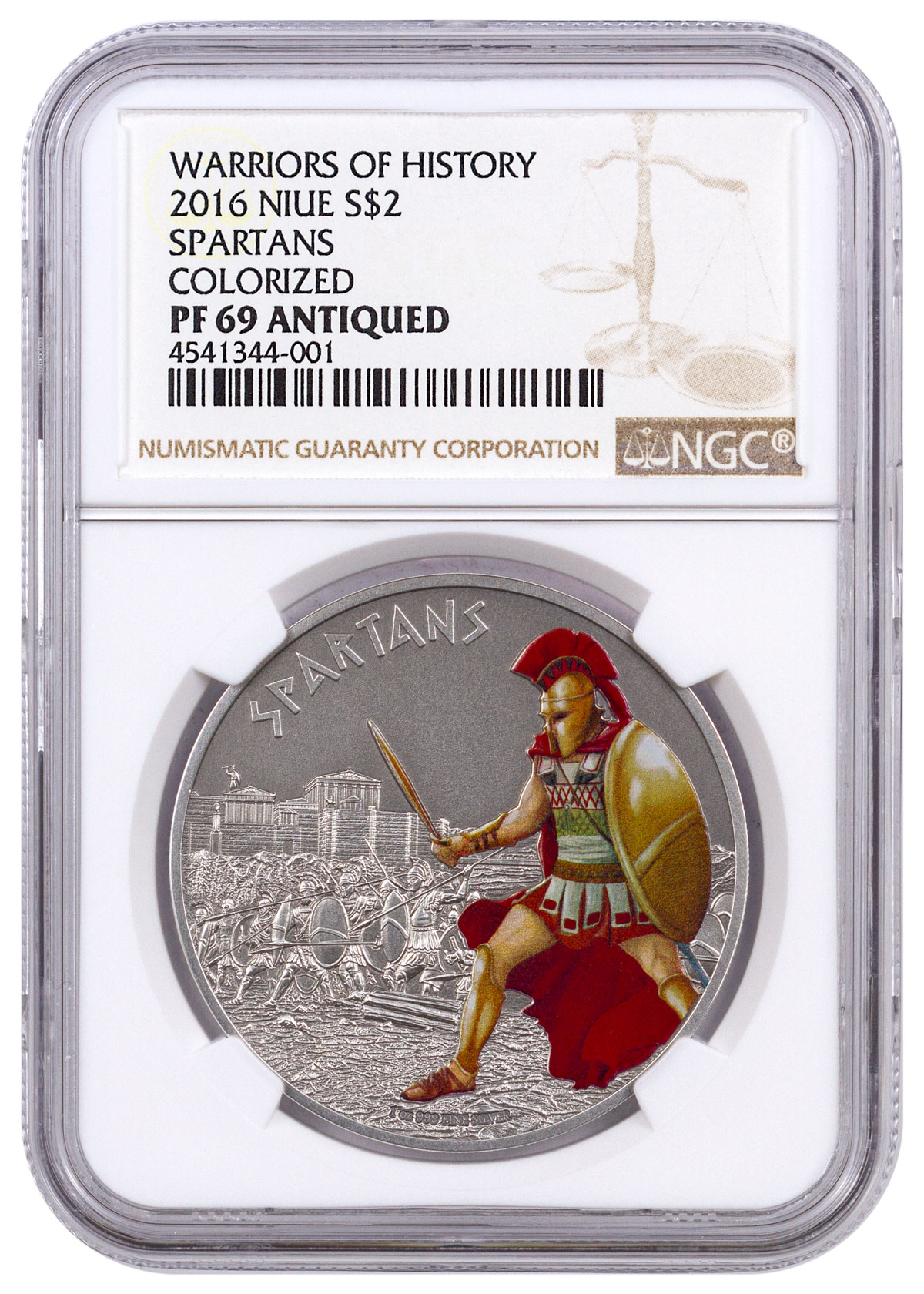 2016 Niue Warriors of History - Spartans 1 oz Silver Antiqued Colorized Proof $2 NGC PF69
