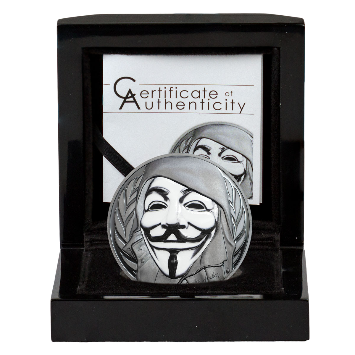 2016 Cook Islands Guy Fawkes Mask 1 oz Silver Enameled Proof $5 Coin GEM Proof (OGP)
