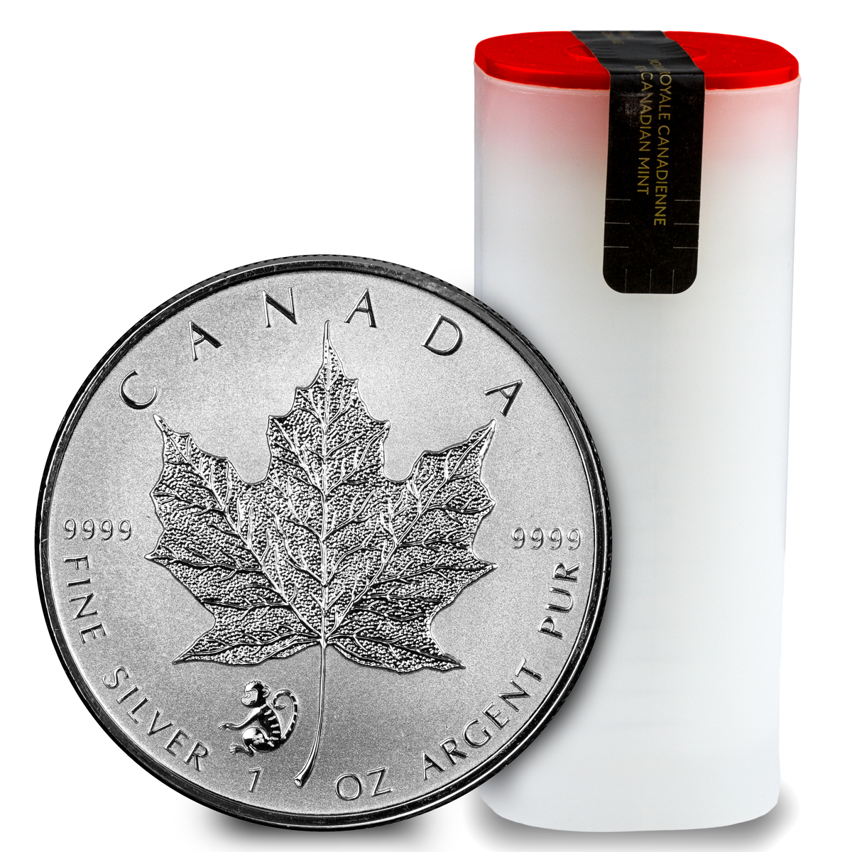 2016 Canada $5 1 oz. Reverse Proof Silver Maple Leaf - Lunar Year of the Monkey Privy Mark - Roll of 25 Coins - GEM Reverse Proof