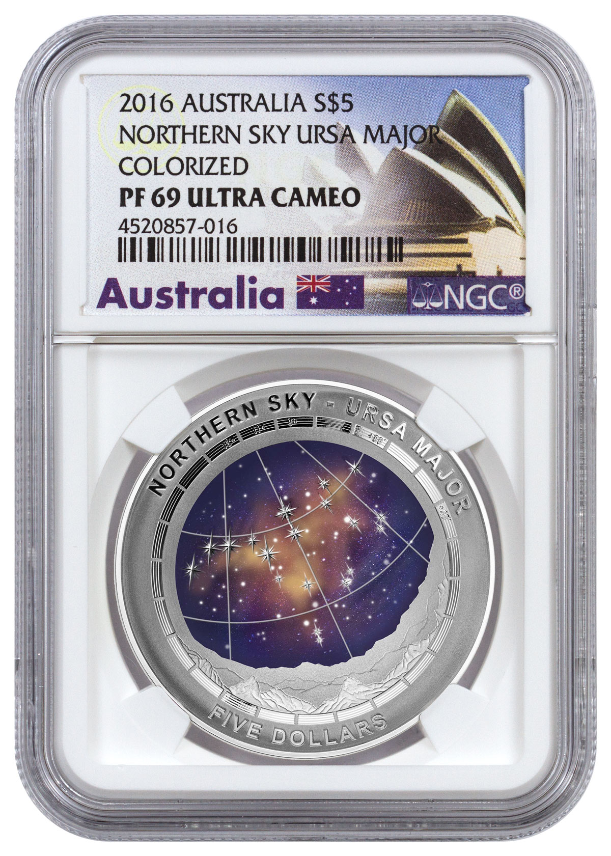 2016 Australia Northern Sky - Ursa Major Domed 1 oz Silver Colorized Proof $5 NGC PF69 UC (Exclusive Australia Label)