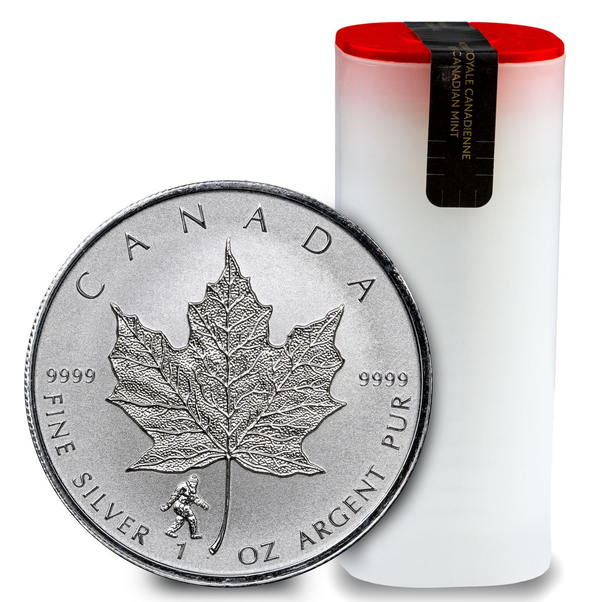 Roll Of 25 2016 Canada 1 Oz Silver Maple Leaf Bigfoot