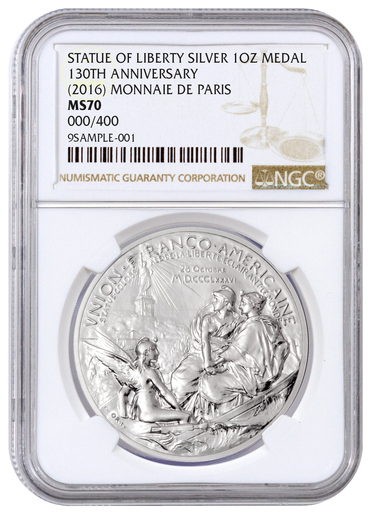 2016 France Statue of Liberty 130th Anniversary Commemorative 1 oz Silver Medal NGC MS70