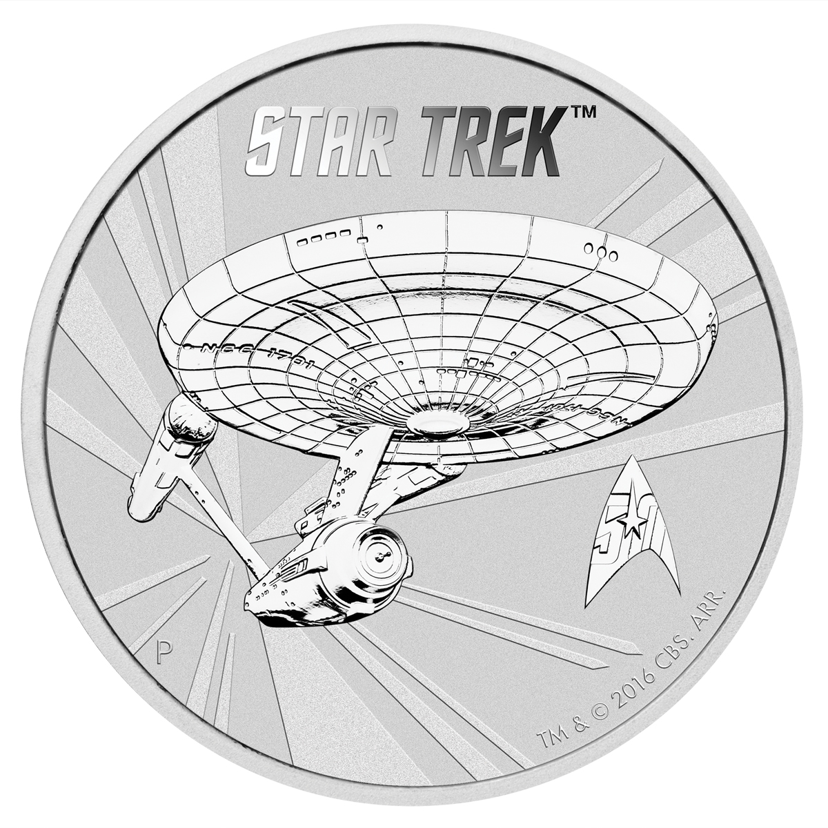 2016-P Tuvalu $1 1 oz. Silver Star Trek - Enterprise - GEM BU