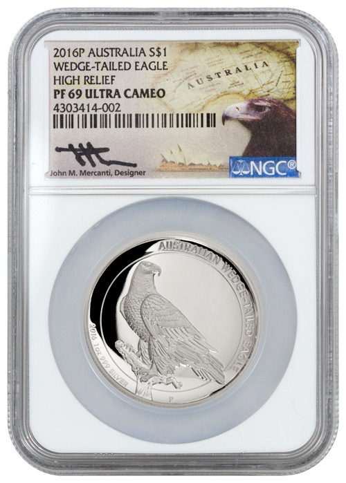 2016-P Australia 1 oz High Relief Silver Wedge-Tailed Eagle Proof $1 NGC PF69 UC (Mercanti Signed Label)